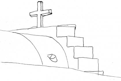 サンドリーニ島の教会のスケッチ