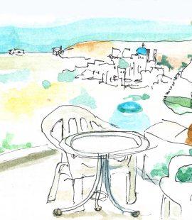 シフノス島アポローニャの宿からの眺めのスケッチ